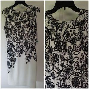 NWT IVORY & BLACK LACE DRESS